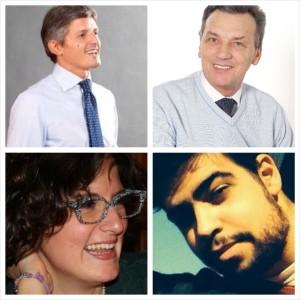 Da sx a dx, dall'alto verso il basso, Andrea Martella, Antonio Bertoncello, Irina Drigo, Valerio Amilcare